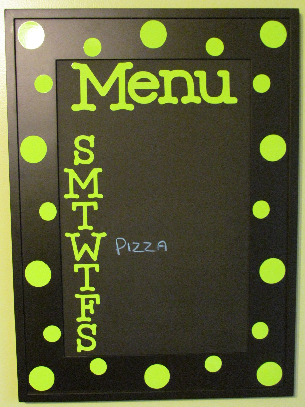 Picture frame menu. Glass is spray painted with chalk board paint ...