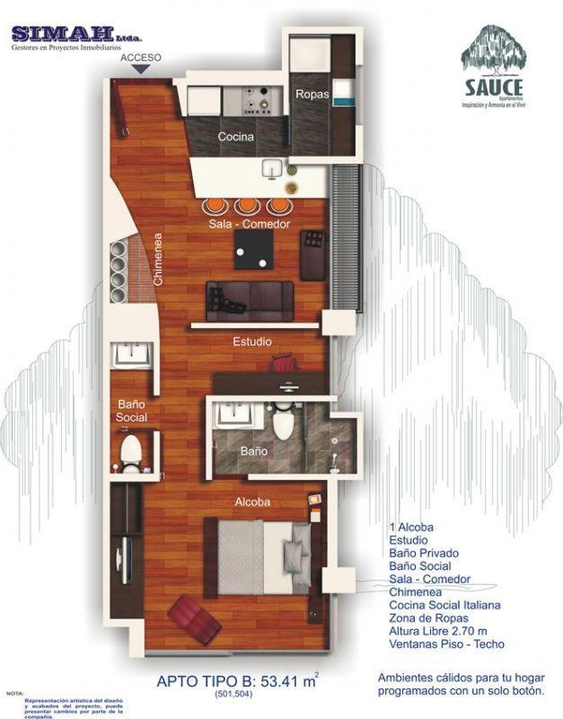 Departamento de un dormitorio y 53 metros cuadrados for Planos de cocinas de 9 metros cuadrados