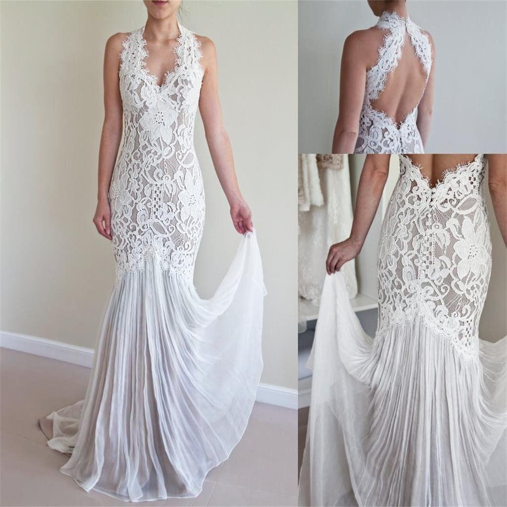 25+ White lace flowy wedding dress ideas