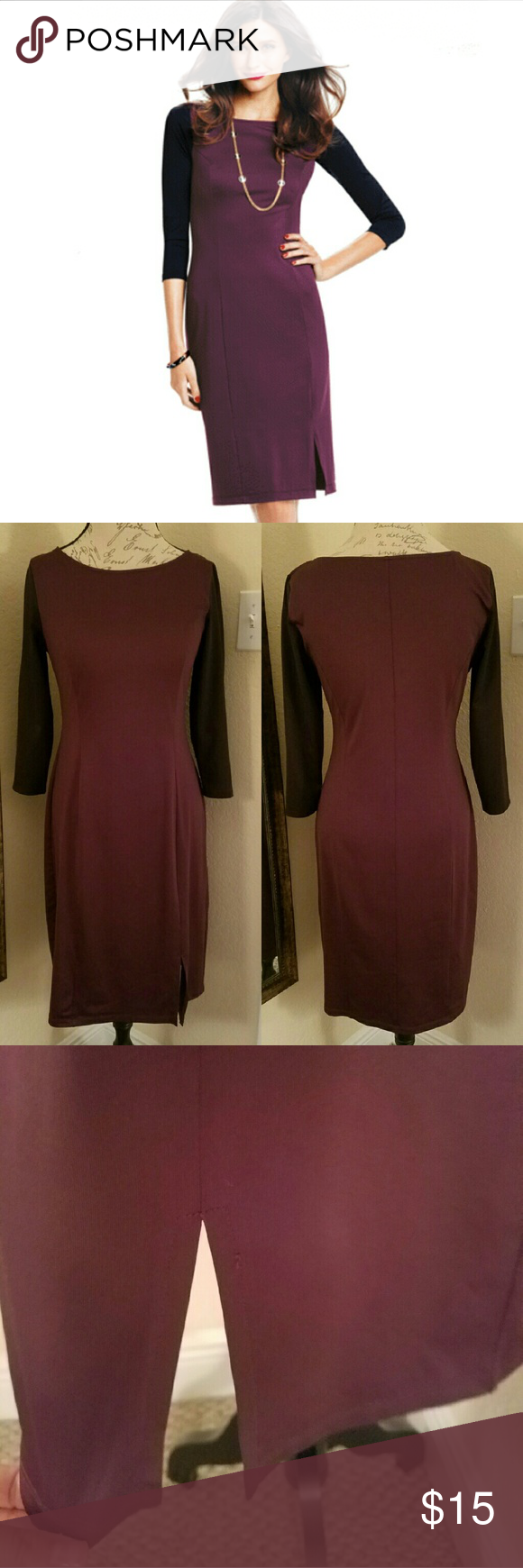 Purple and black dress Gently used/like new conditions perfect for any occasion. Avon Dresses Midi