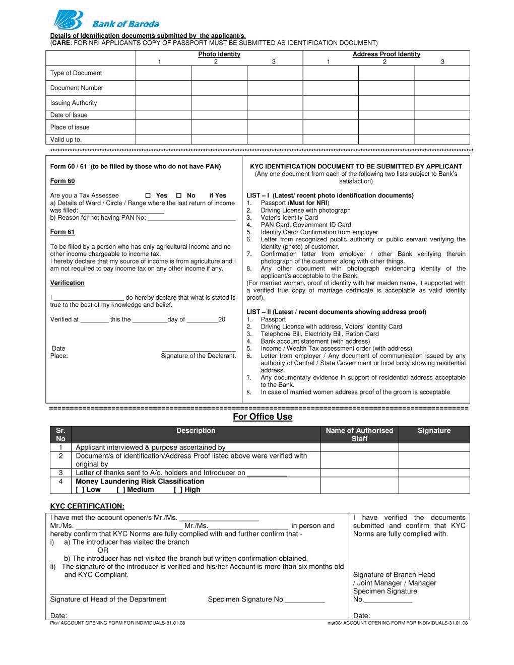 application form bank of baroda baroda account form  Bank of baroda, Baroda, Accounting