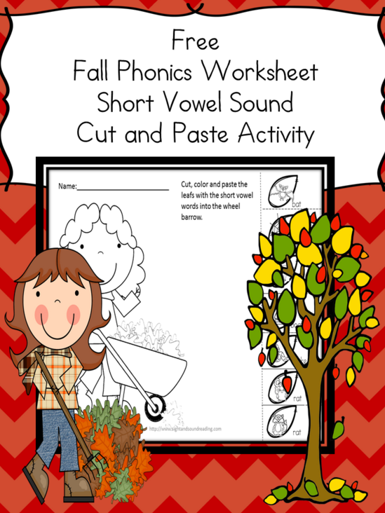 Free Cut And Paste Phonics Worksheet  Phonics Worksheets And