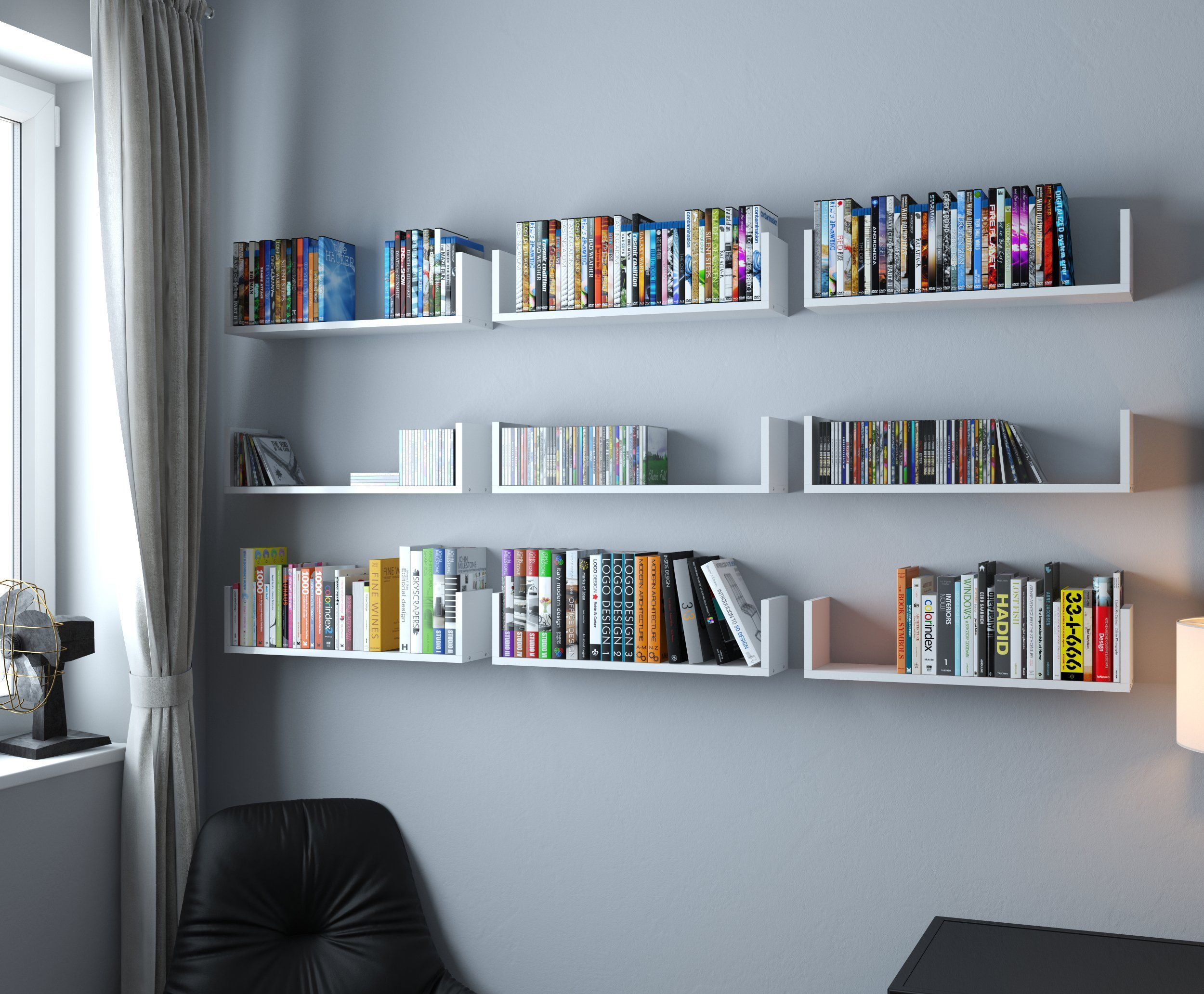 Wallniture U Shape Wall Mount Floating Wood Book Shelves Media Storage White Set Of 9 You Can Find Out More Details At The Link O Shelves Wall Shelves Home