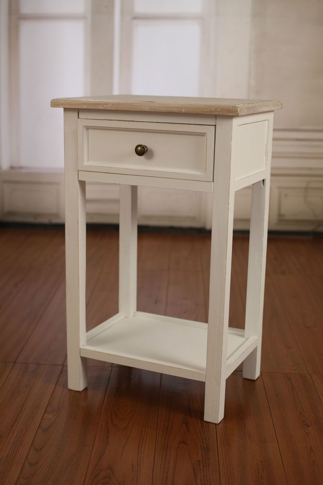 french provincial paulownia grey wash bedside table. Black Bedroom Furniture Sets. Home Design Ideas