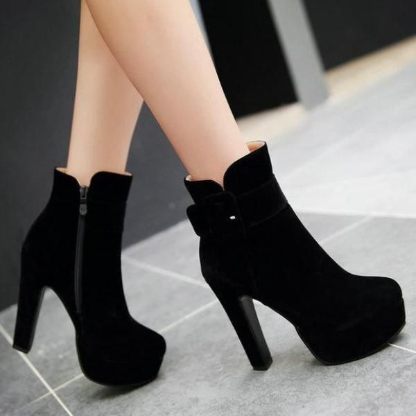 a800b45bd78 Chunky High Heel Ankle Boots | Faux Suede Platform Boots | skór in ...