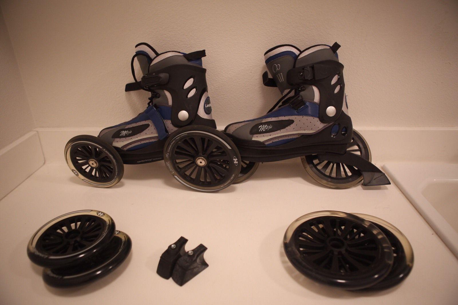 landroller mojo skates blue size us 8m w extras common