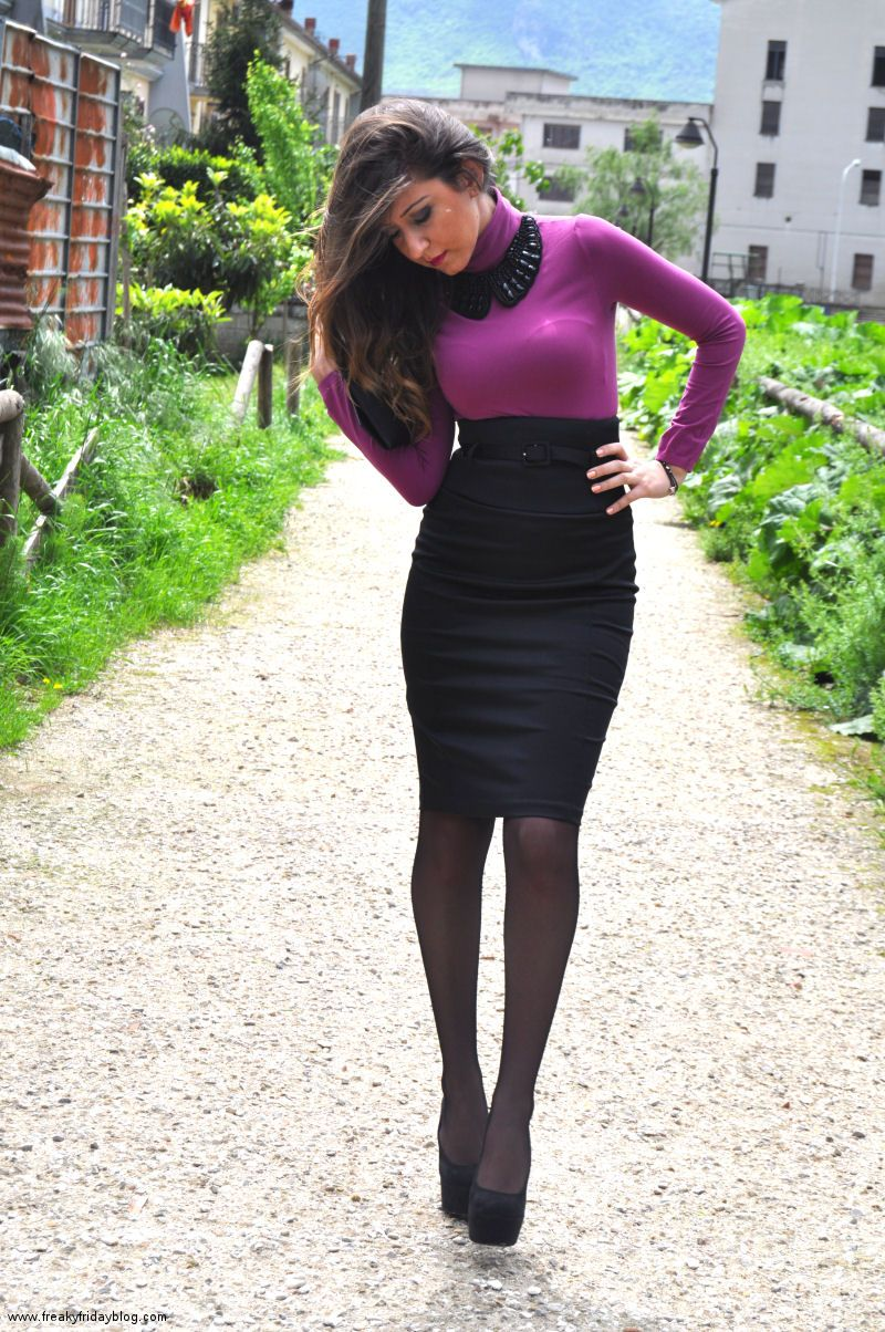 High Waist Skirt and plum blouse, love it | beglui | Pinterest ...