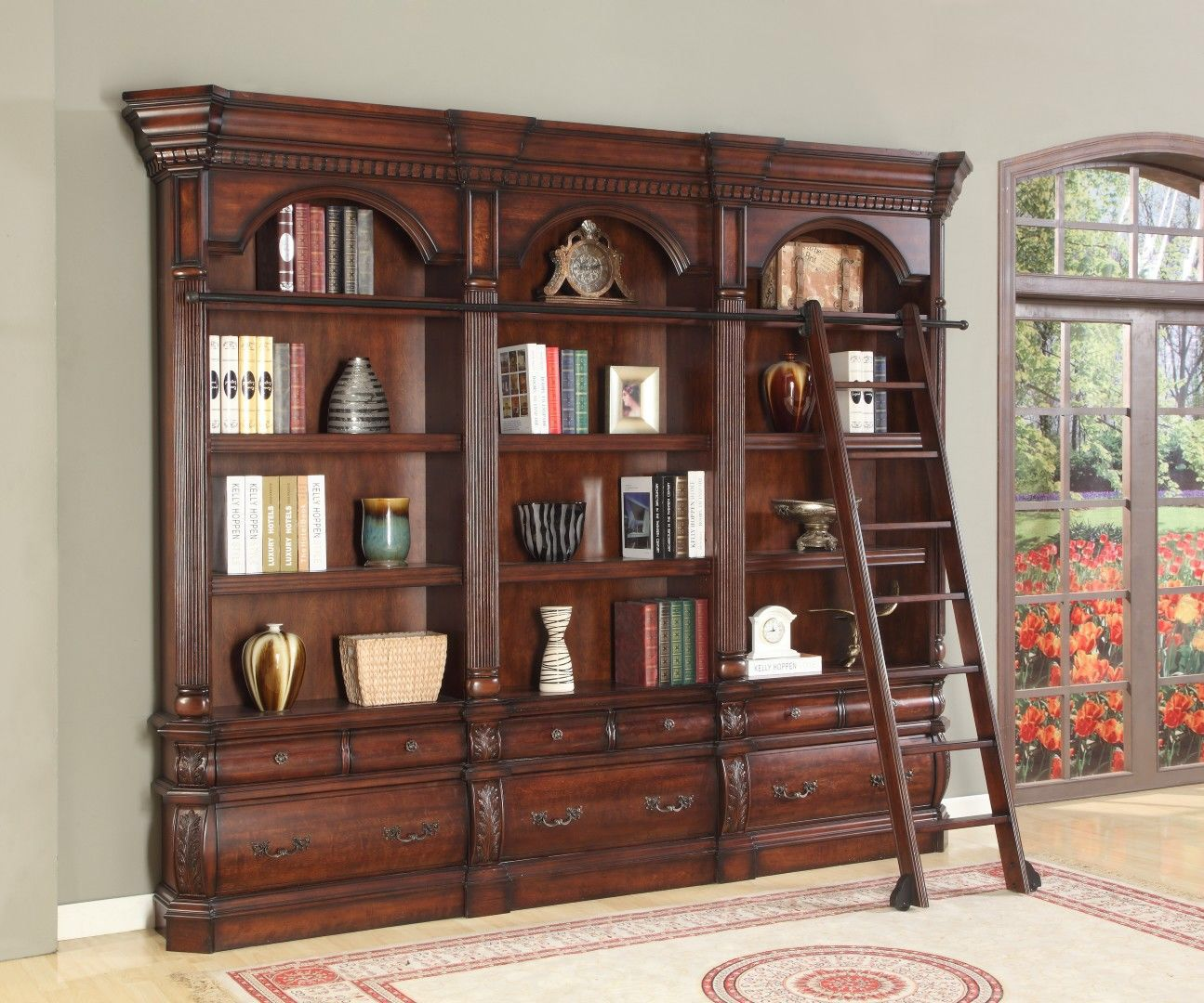 Elegant Library Unit Furniture. Versailles 3 Piece Library Unit With Ladder  Furniture