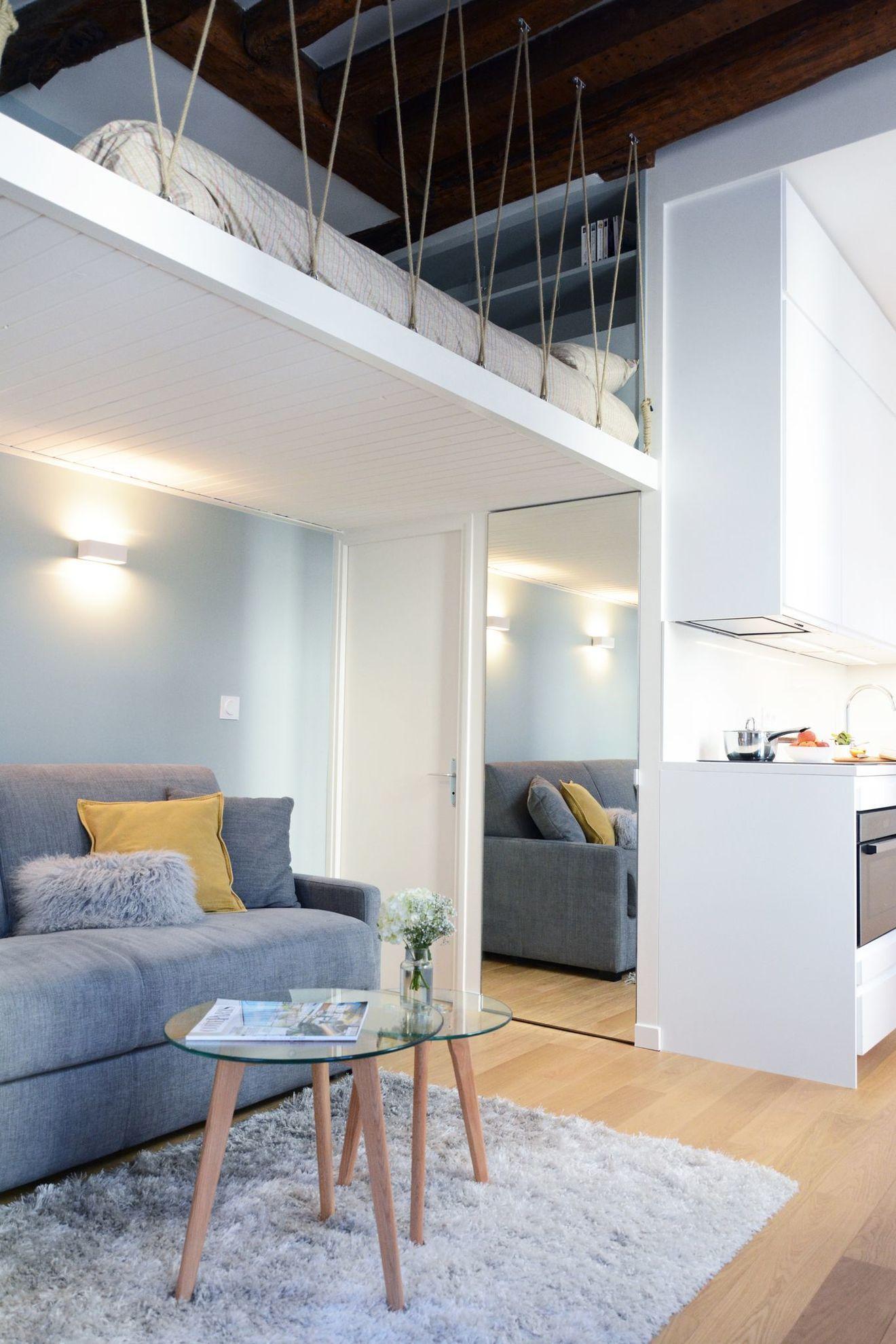 Studio Paris 6 23 M2 Renoves Avec Mezzanine Amenagement Studio Mezzanine Design Loft Appartement