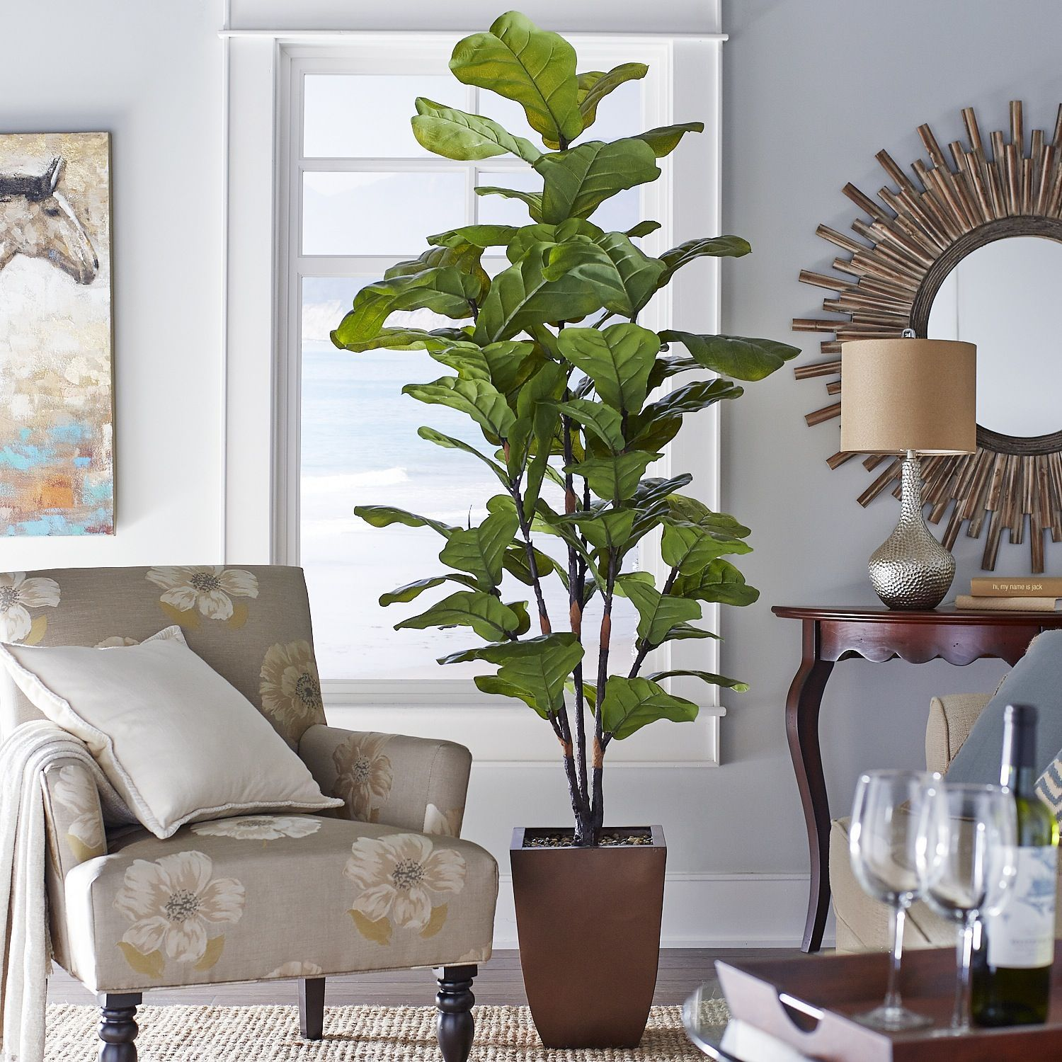 fake living room trees faux fiddle leaf fig tree pier 1 imports i 15033