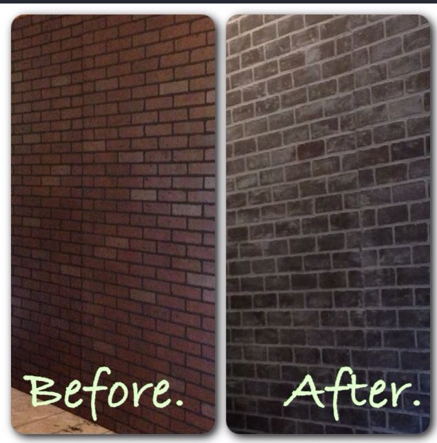 Faux Brick Wall Brick Paneling From Lowes Covered With White Chalk