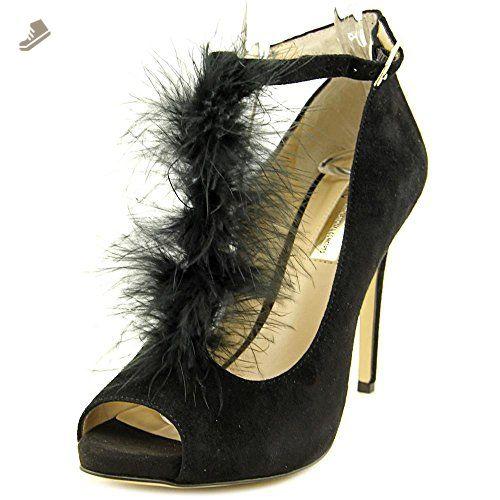 INC International Concepts Womens SHIAH Peep Toe Ankle Strap Black Size 10.0