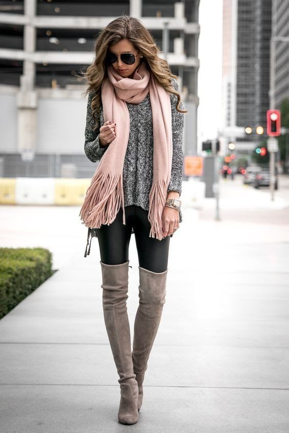 Ravishing Winter Outfits For Ladies Vincisjournal In 2020 Winter Fashion Outfits Grey Boots Outfit Knee Boots Outfit