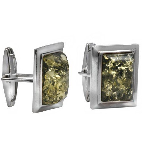 Men's Sterling Silver Green Amber Rectangular Classic Cuff Links Amazon Curated Collection. $65.00. Gemstones may have been treated to improve their appearance or durability and may require special care. May be washed with warm water and soap.. Save 43%!