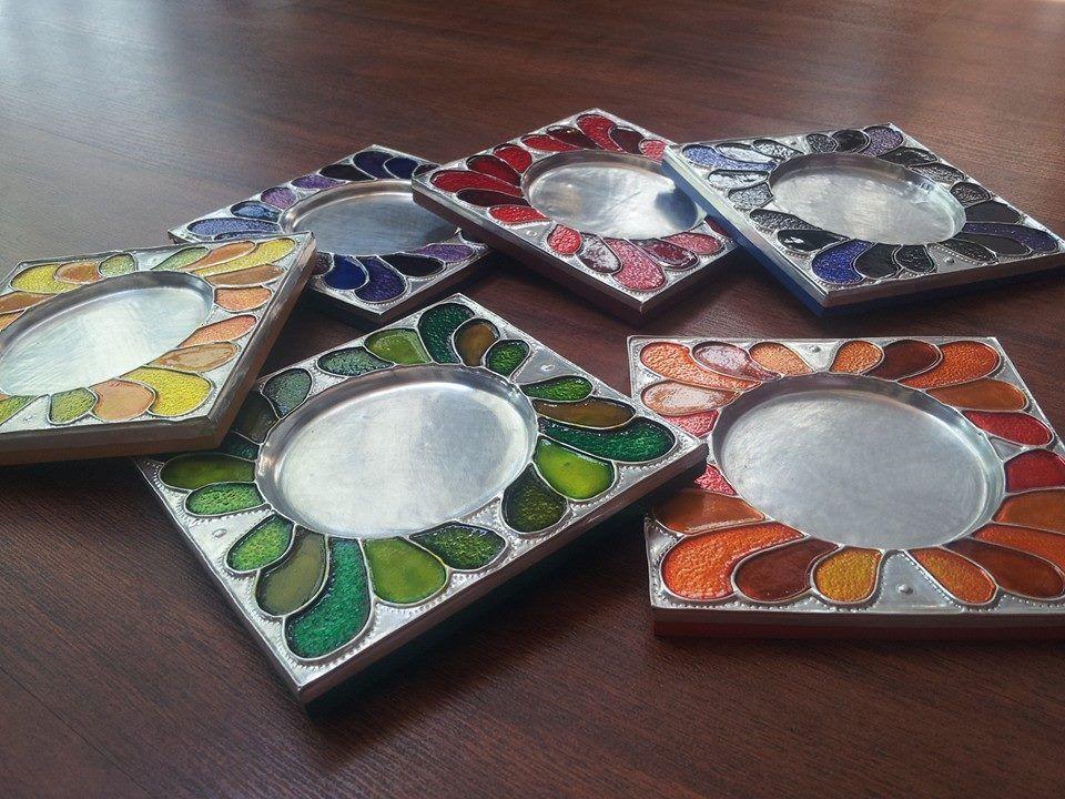 Porta vasos repujados en aluminio pintados en degrad de - Pintura para aluminio ...