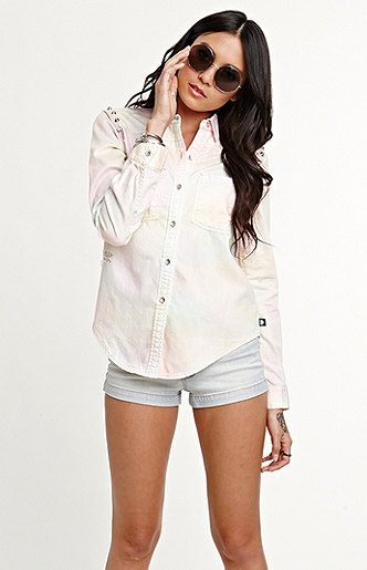 Tie Dye Chambray Shirt | Kendall & Kylie Jenner Summer 2013 #fashion Collection #summer #2013 #shirt