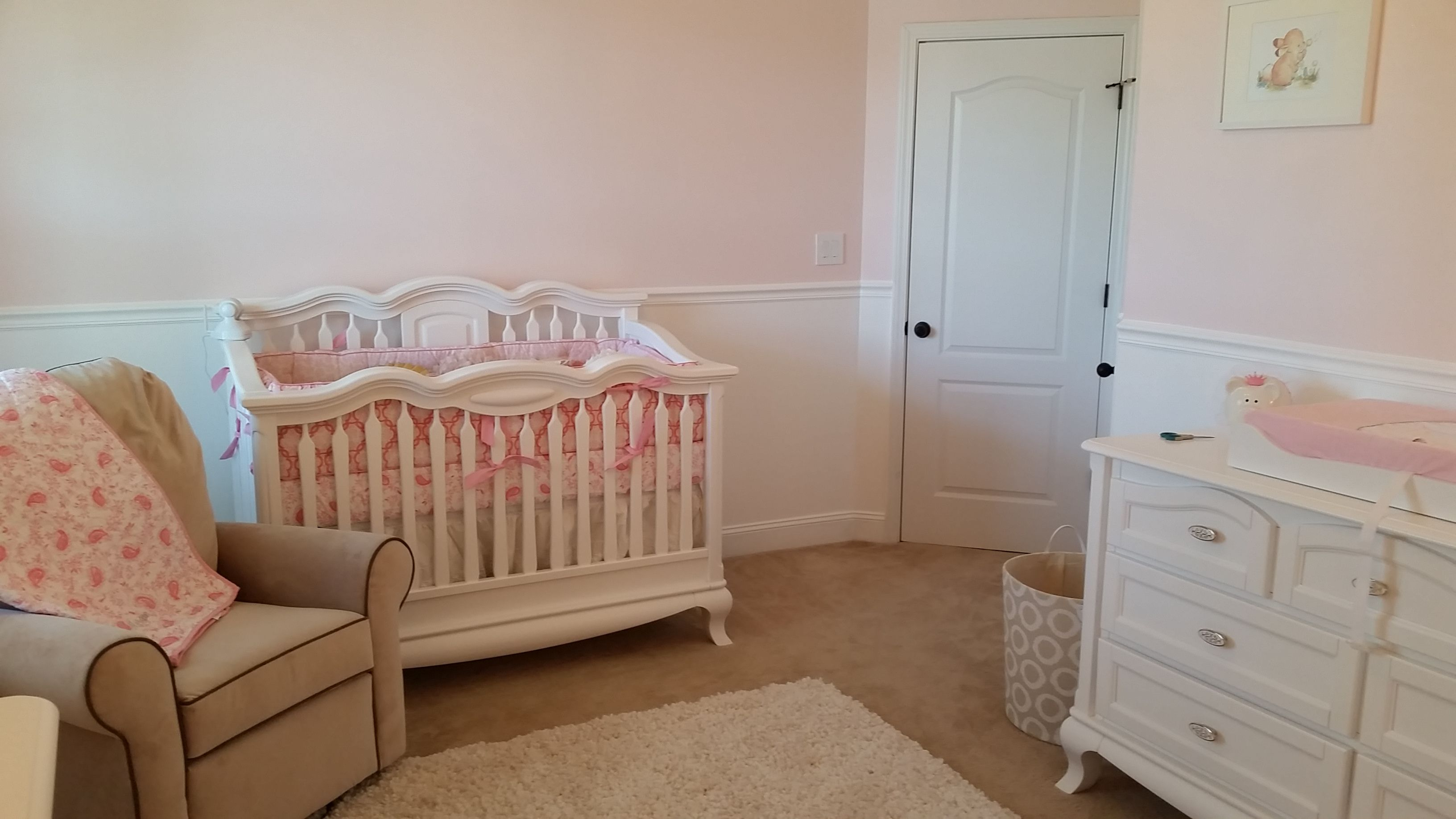 chair rail nursery. Brilliant Rail Crown Molding  Baby Girl Room Conversion  Completion Girl Nursery   Nurseries  DIY Chair Intended Chair Rail Nursery A
