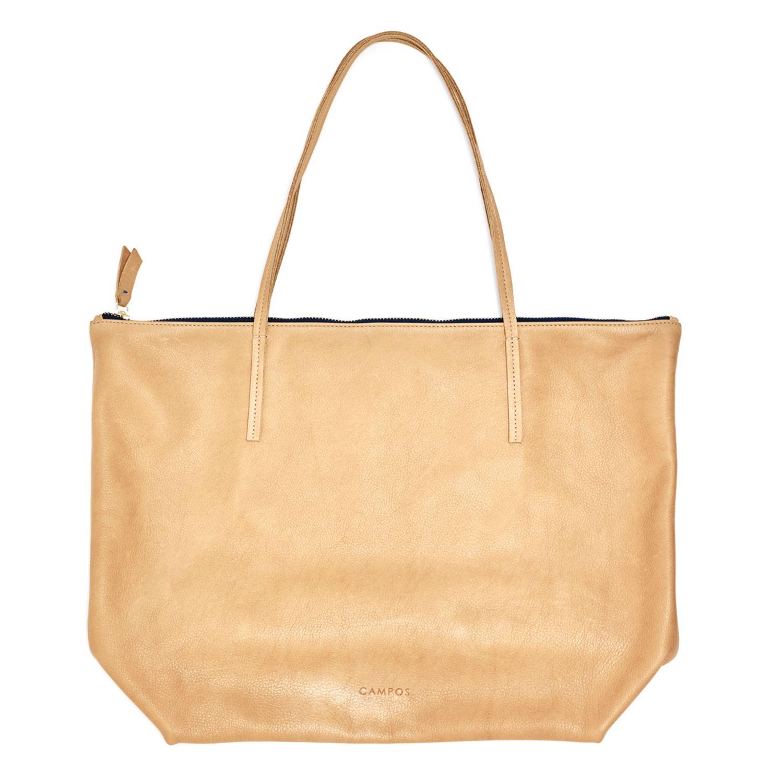 Zip Tote, Nutmeg - Campos Leather Handbags - Handmade in the Brooklyn Navy Yard