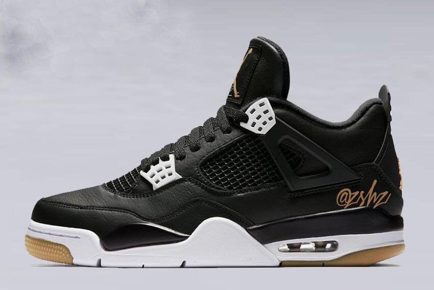 "85bc19bae67f 2019 Air Jordan 4 SE ""Black Gold"" Black White-Gum Light Brown"