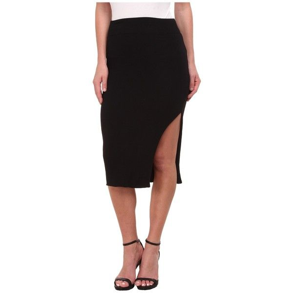 LNA Double Layer Pencil Skirt Women's Skirt ($103) ❤ liked on Polyvore featuring skirts, elastic waist pencil skirt, asymmetrical skirt, stretchy pencil skirt, high waisted knee length skirt and slit pencil skirt