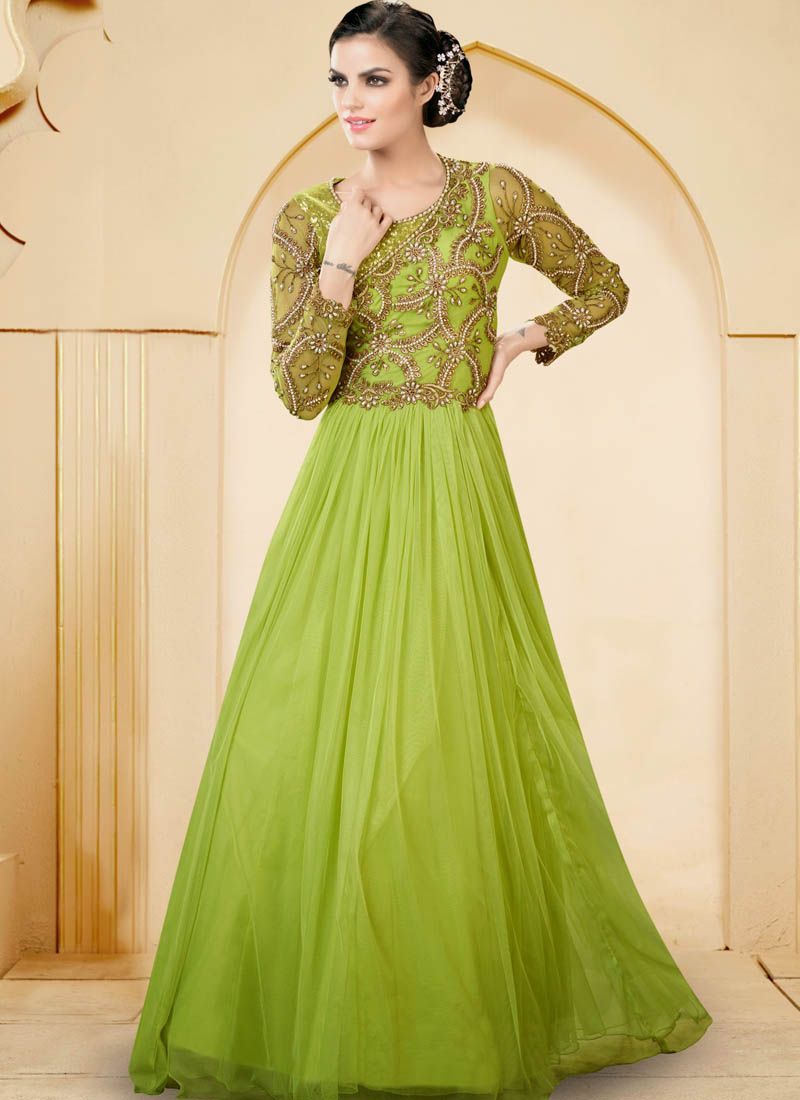 Green Net Indowestern Gown With Zari Work | Indo Western Gown ...