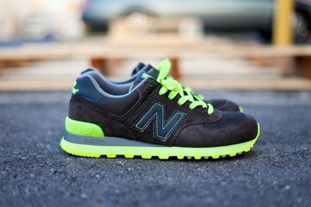 new balance 574 black green