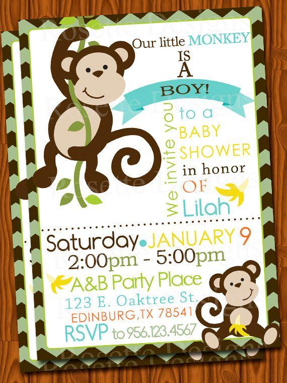 monkey baby shower invitation chevron pattern by rosettedesigns, Baby shower invitations