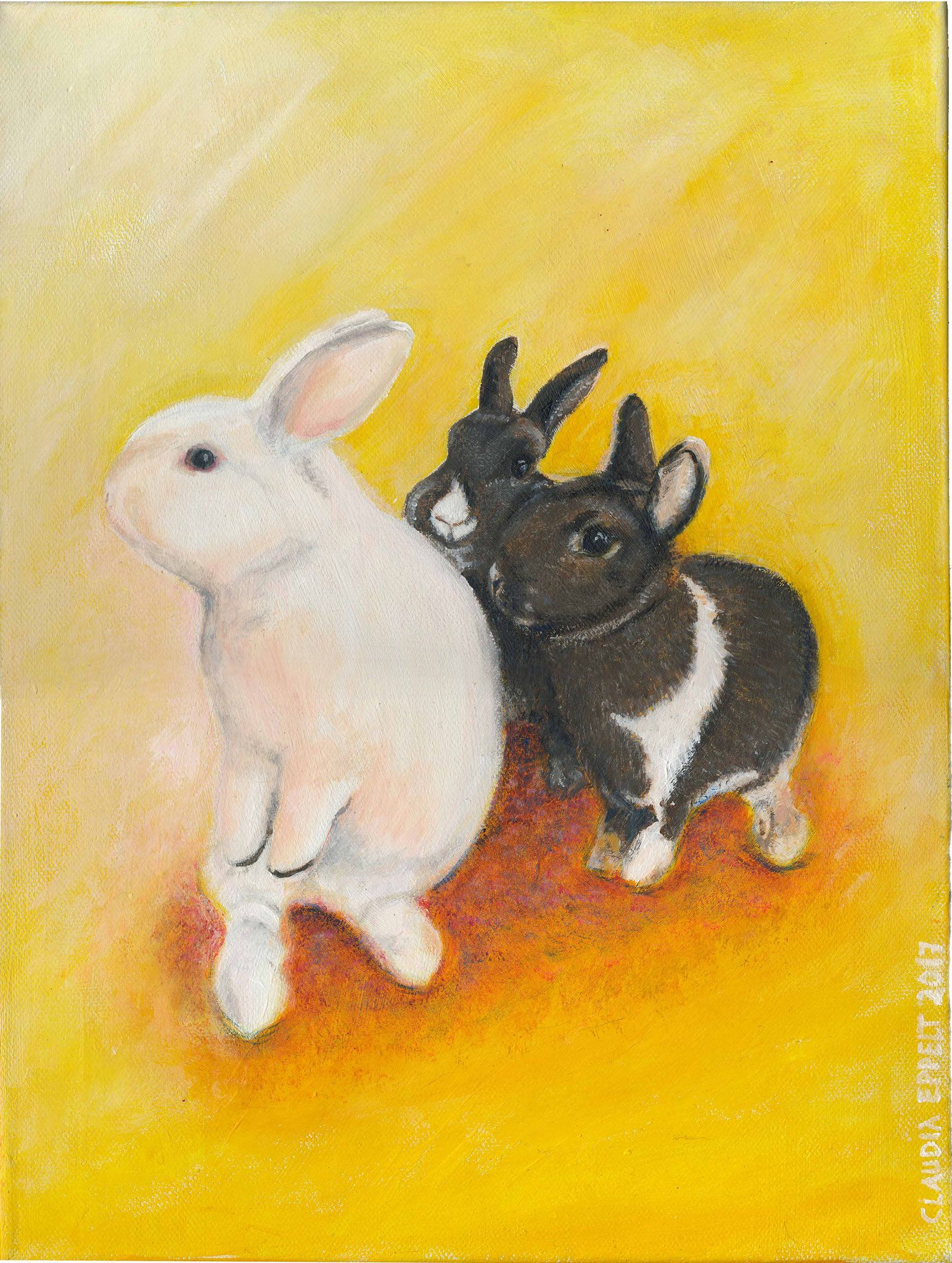 Stupsi, Speedy und Lilly, Acryl auf Leinwand 30x40 cm | Tierportrait ...