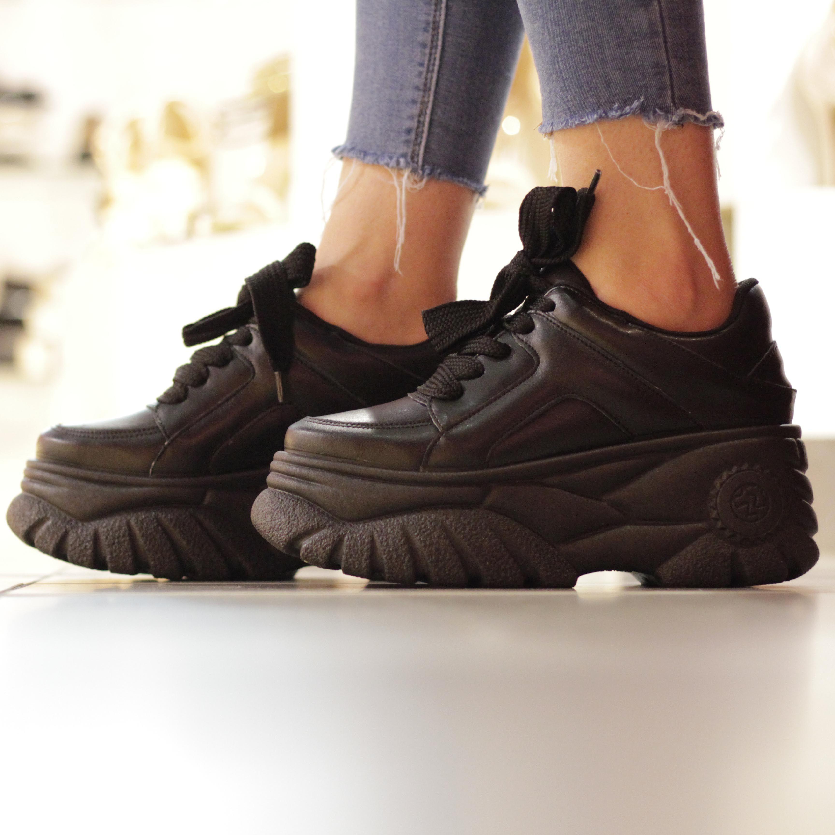 Chunky black platform trainers - get