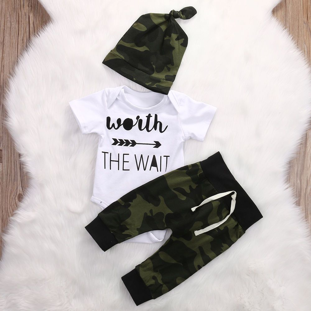 5bb6c24857c3 USA 3Pcs Newborn Baby Girl Boy Romper T-Shirt +Long Pants Hat ...
