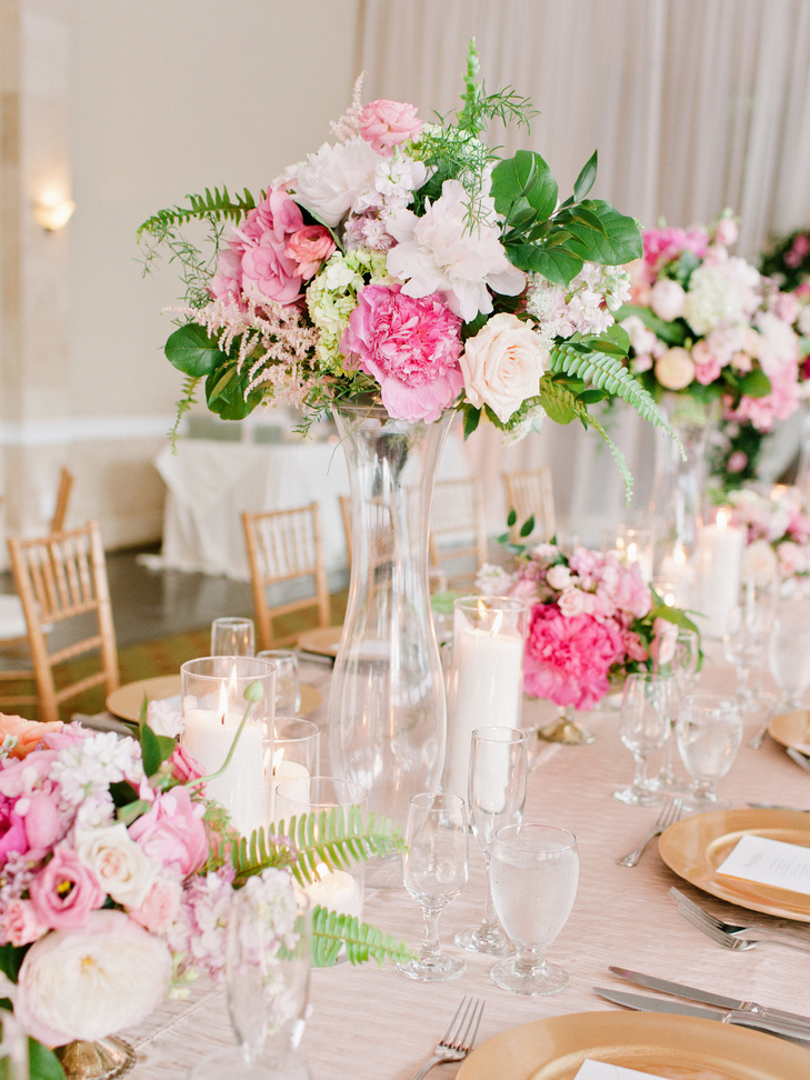 Tall Blush and Pink GardenInspired Flower Arrangement