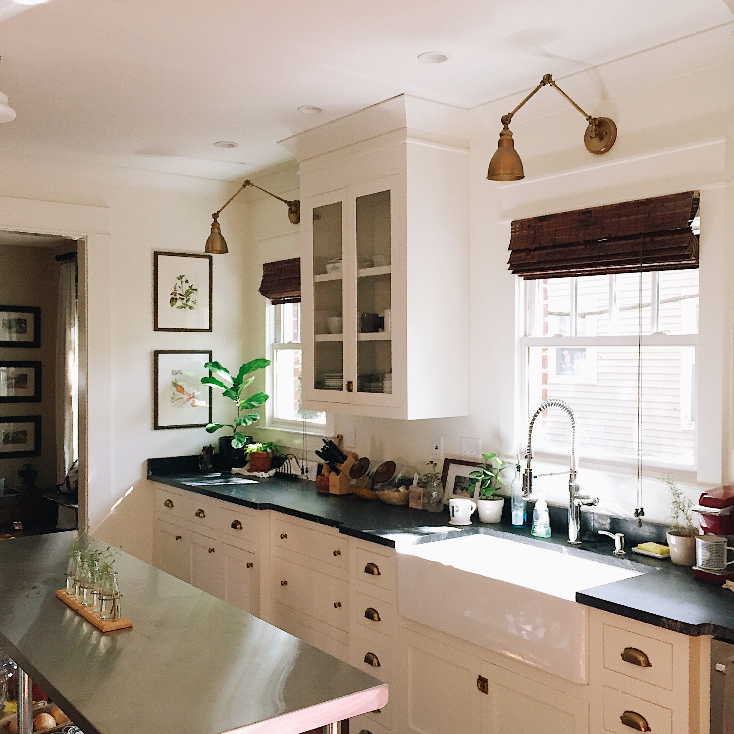 Our Craftsman Kitchen With White Shaker Cabinets Black Honed Granite And Aged Brass Hardware Wit Craftsman Kitchen Cabinets Kitchen Layout Craftsman Kitchen