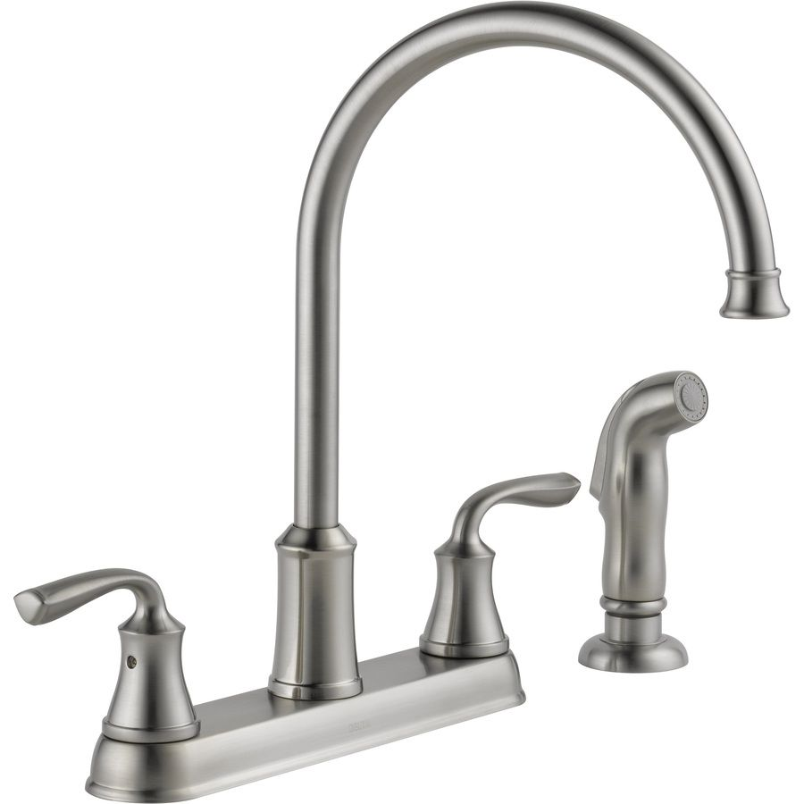 lowes delta kitchen faucets shop delta lorain stainless 2 handle high arc kitchen 20456