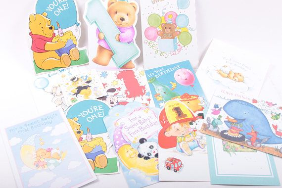 Used lot of 1990a greeting cards graphics scrap book first birthday used lot of greeting cards graphics scrap book first birthday baby one assortment cute the pink room 170307 by thepinkroom m4hsunfo