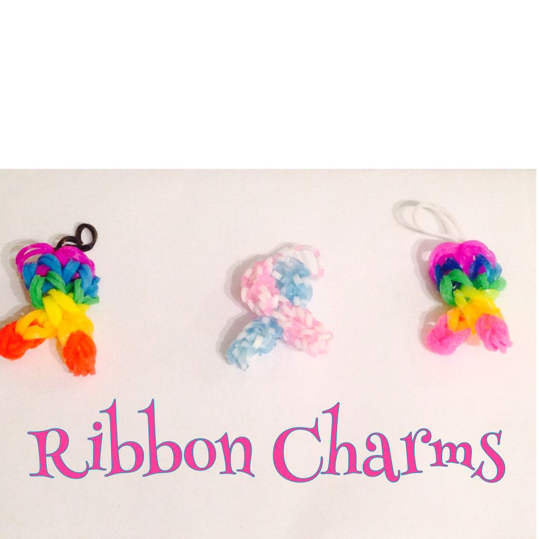 Rainbow & pink and white Ribbon Charms made on the hook