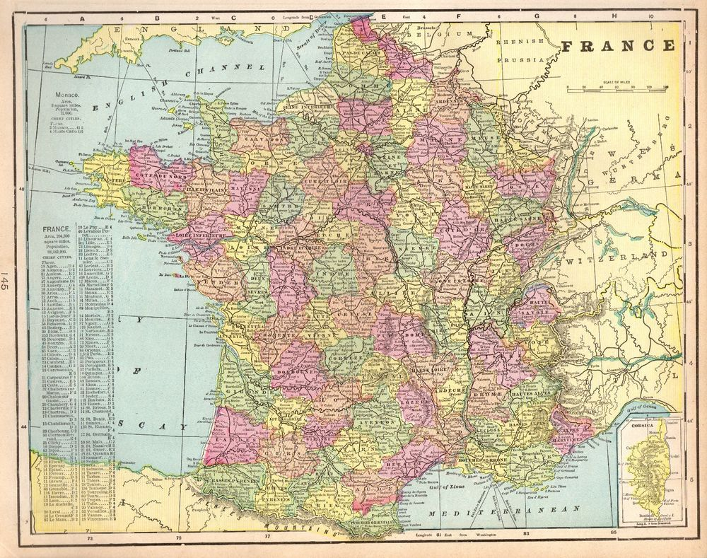 1901 Antique FRANCE Map Vintage Map of France Gallery Wall Art #4468 ...