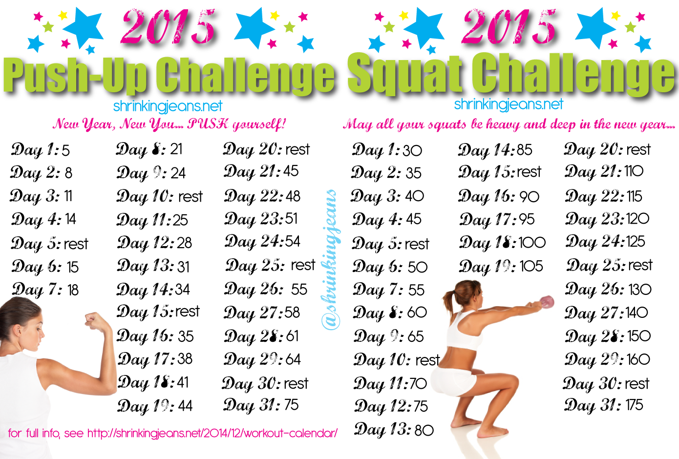 New Year New You 31 Day Squat And Push Up Challenge Push Up Challenge Workout Calendar Month Workout