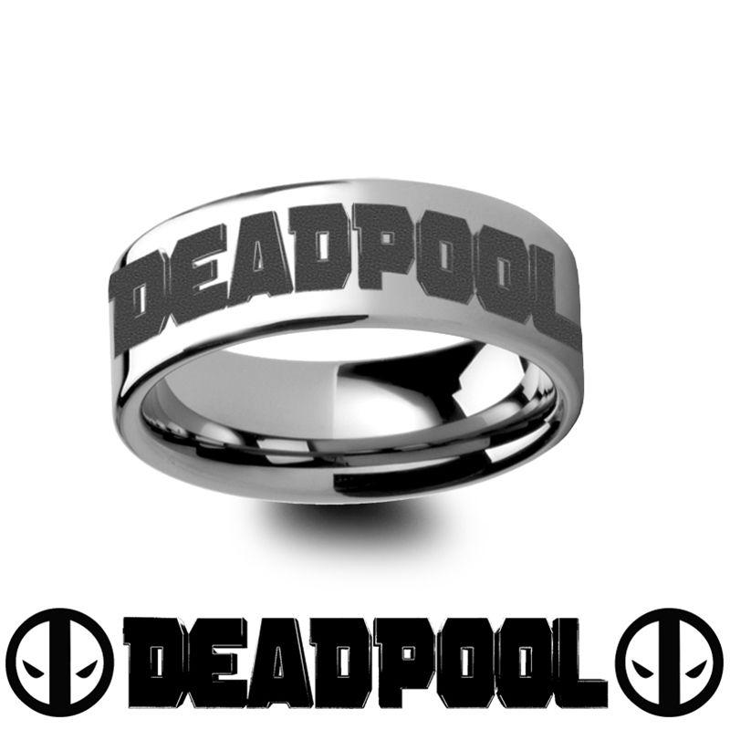 Deadpool Title Mercenary Super Hero Movie Tungsten Engraved Ring Jewelry 4mm 12mm Tungsten Wedding Bands Tungsten Wedding Wedding Bands