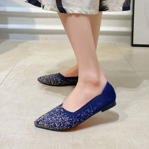 Royal Blue Knit Pointed-toe Flat Snowflake