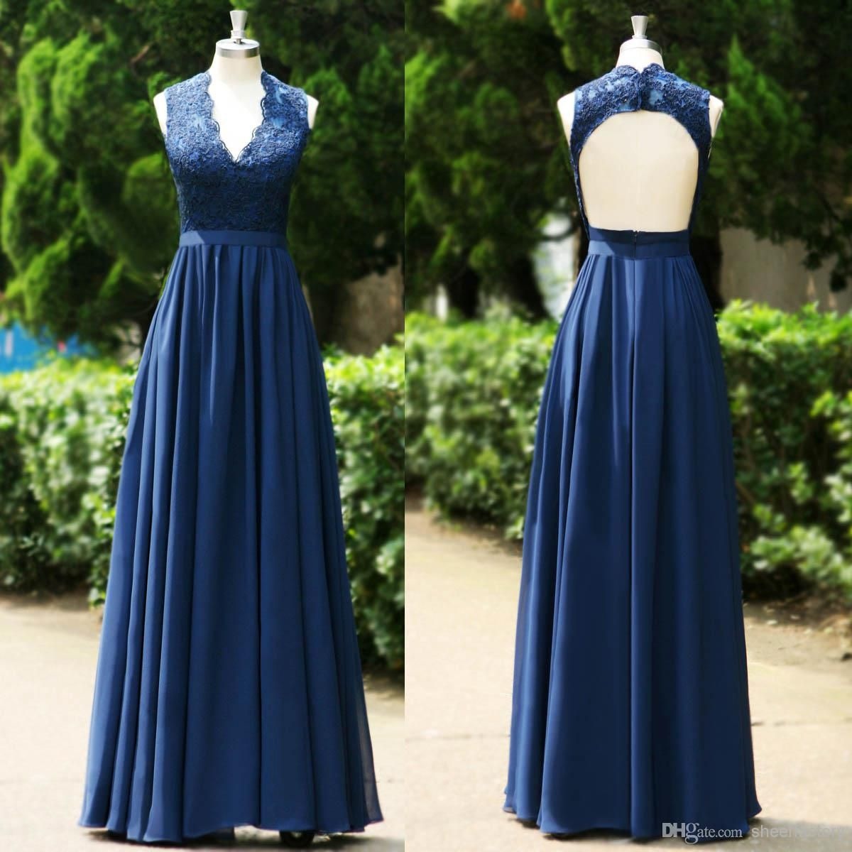 Blue Wedding Gowns 2014: 2015 Navy Blue V Neck Lace Evening Dresses A Line Backless