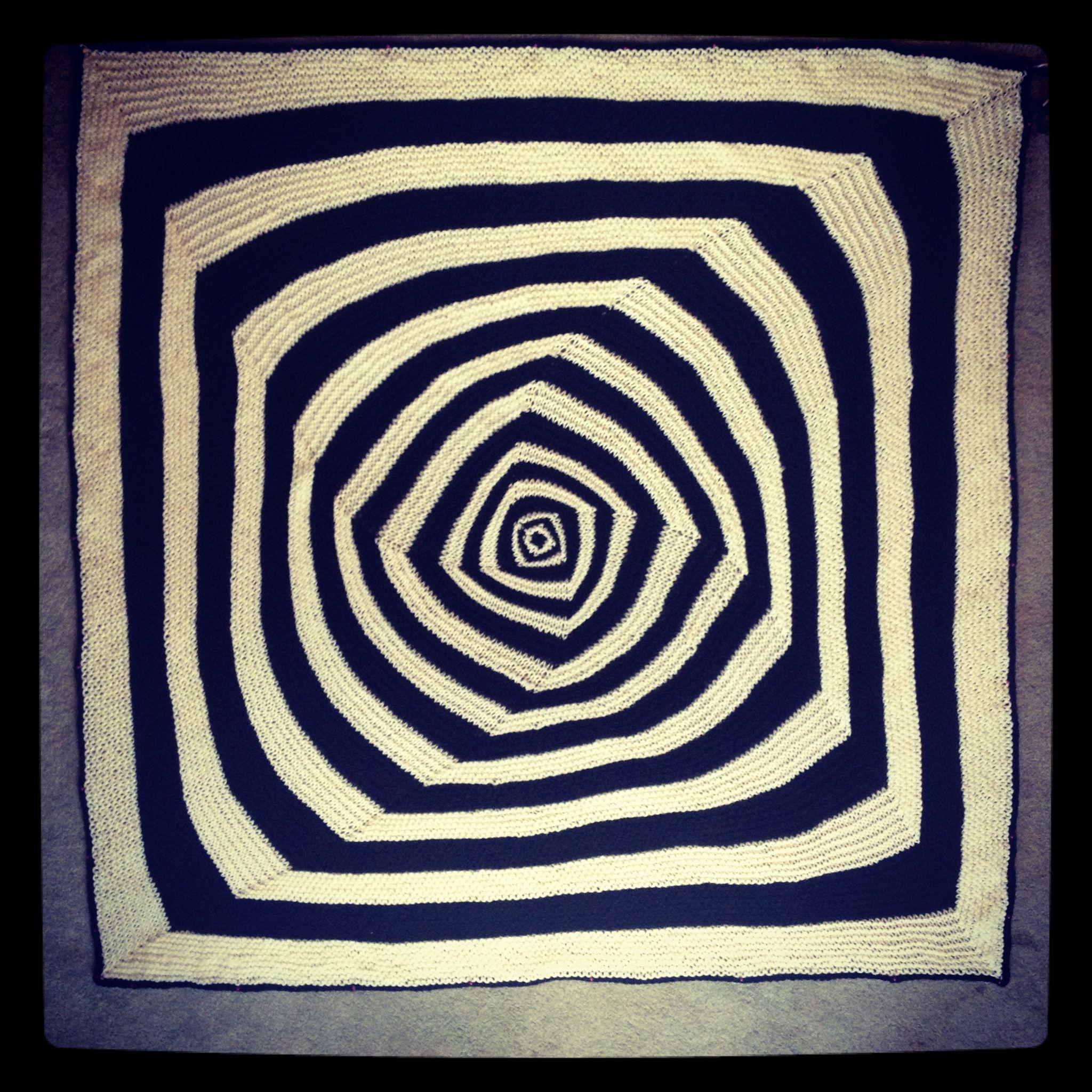 hand knit op art baby blanket pattern designed by marisa dominguez ...