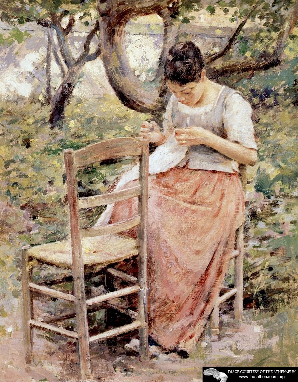 Girl Sewing (also known as The Layette or The Seamstress)  Theodore Robinson