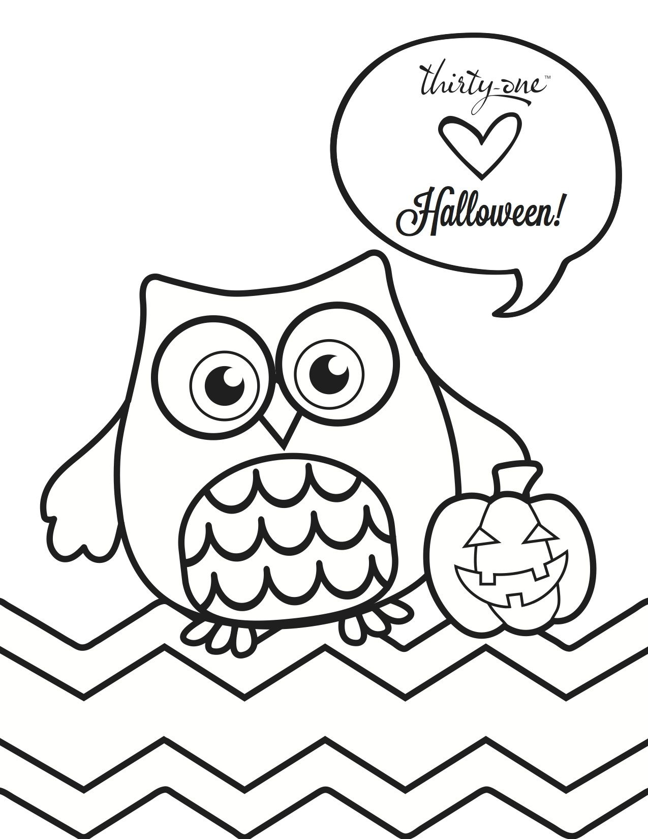 Owl Loween Coloring Page
