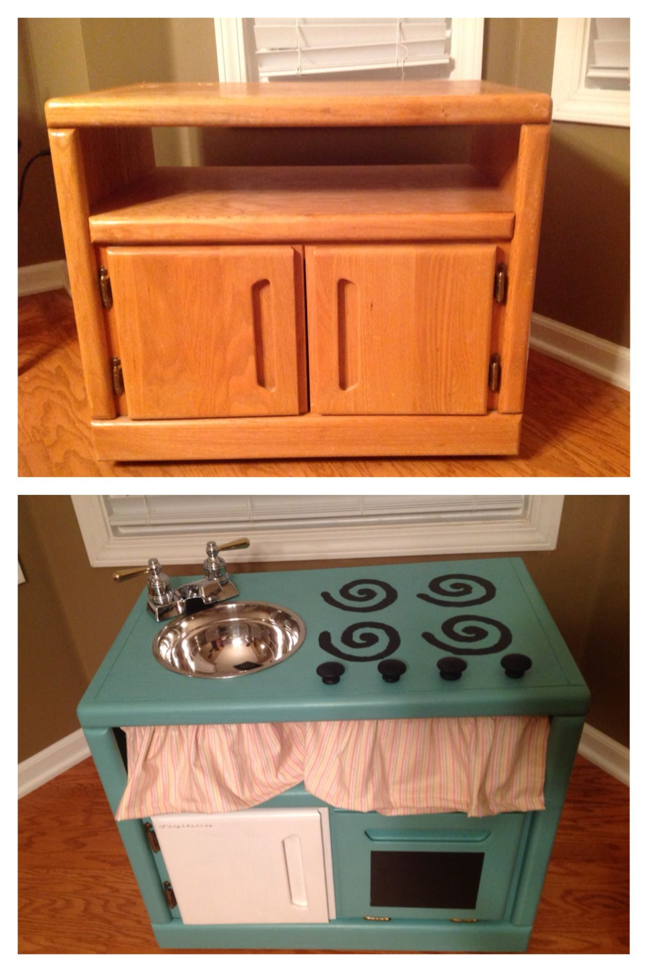 DIY play kitchen made from an old nightstand Diy play