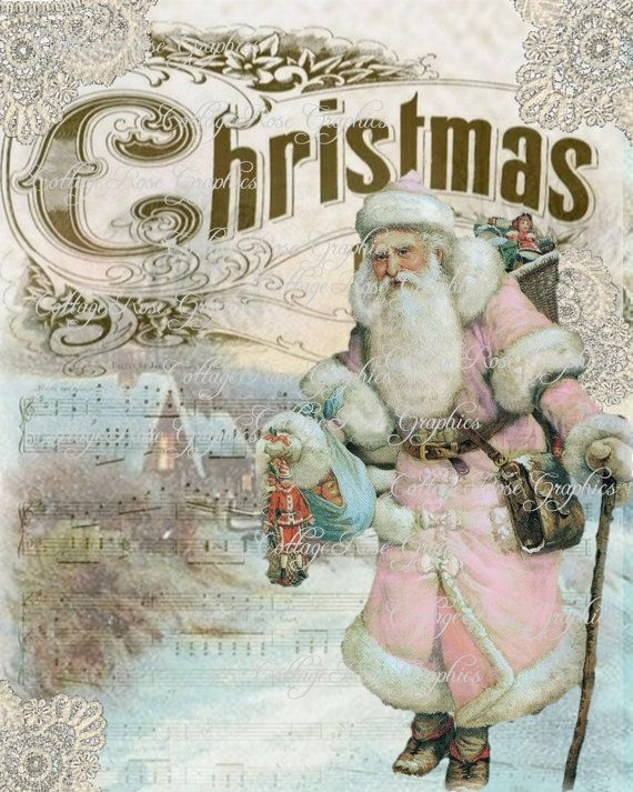 Pink Santa Vintage Traveler Shabby Christmas Large Digital