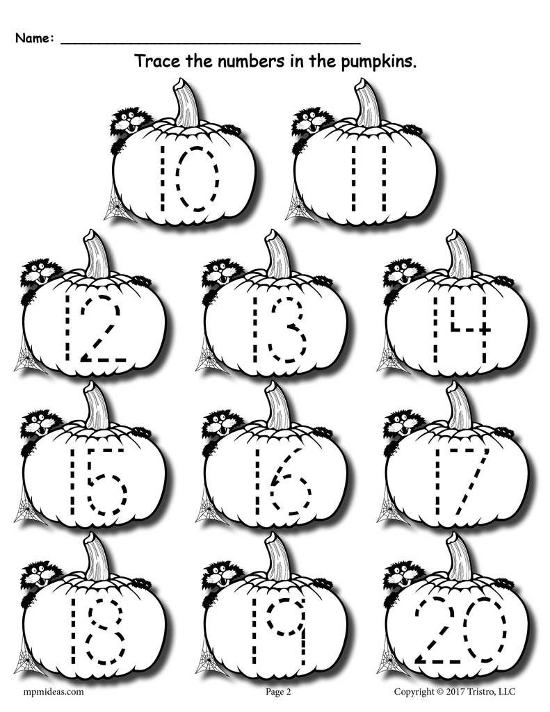 Printable Pumpkin Number Tracing Worksheets 120 Numbers