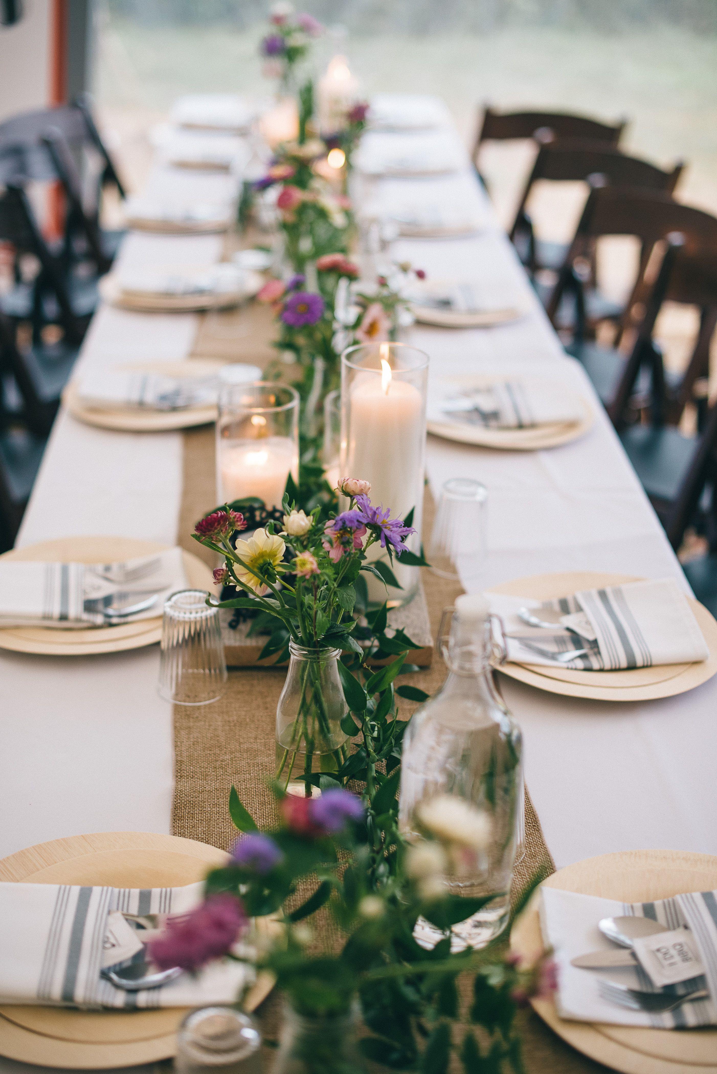 DIY Rustic Farm Wedding, Rustic Table Setting, Farm Tables, Farm Wed…    Wedding reception table decorations, Reception table decorations, Rustic  wedding table decor