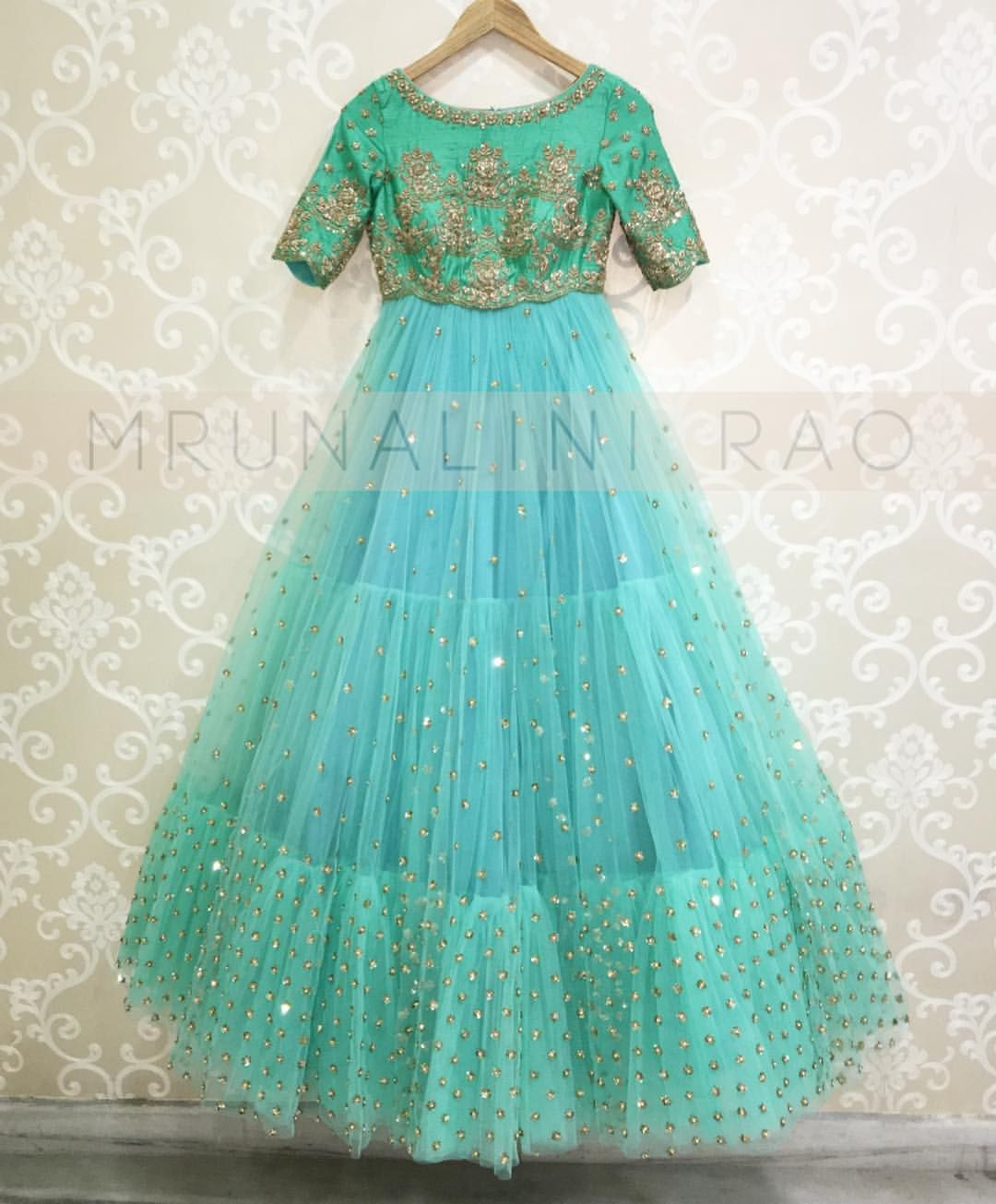 Seagreen tiered tulle dress mrunalini rao. 28 March 2017 | Indian ...