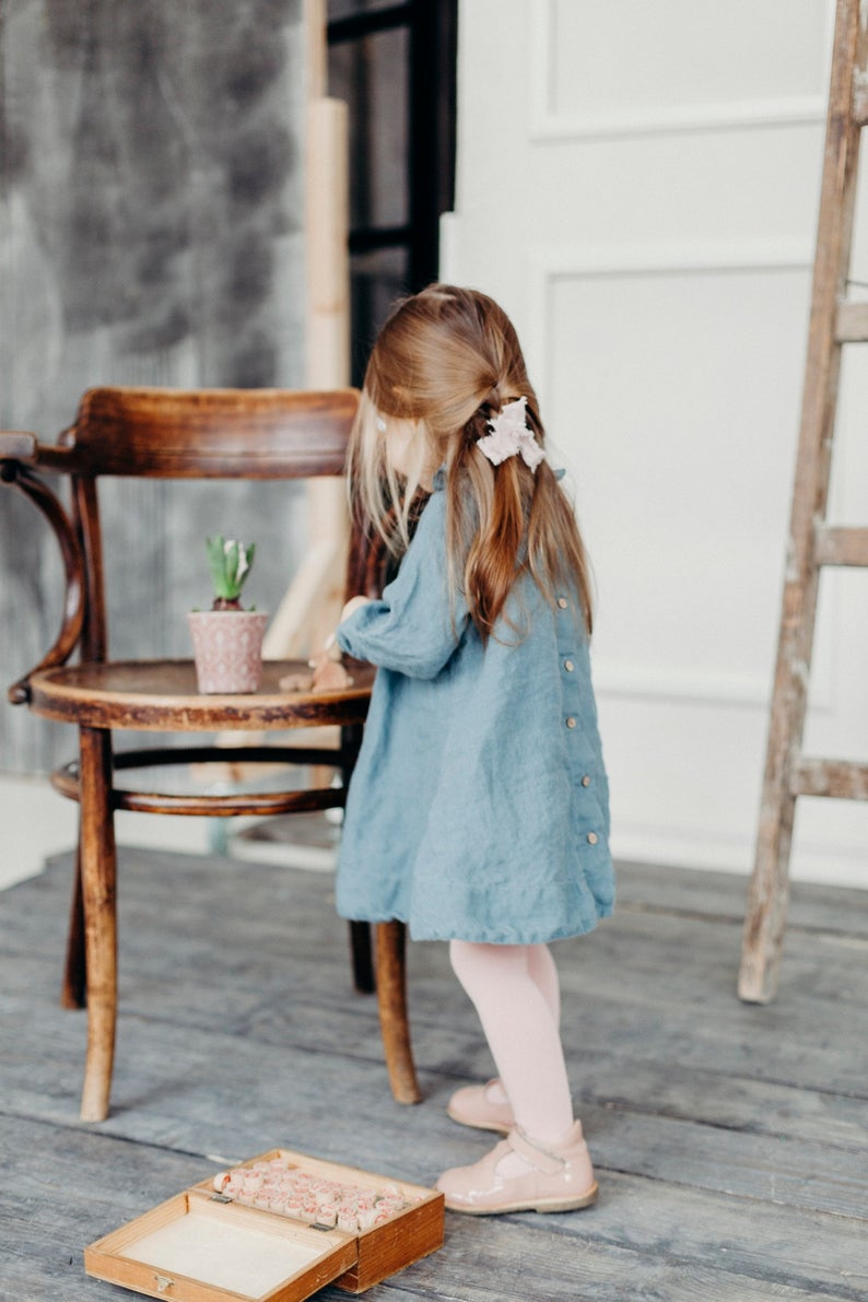 Linen Girl Dress with Ruffles / Tunic Dress in Dusty Blue / more colors available