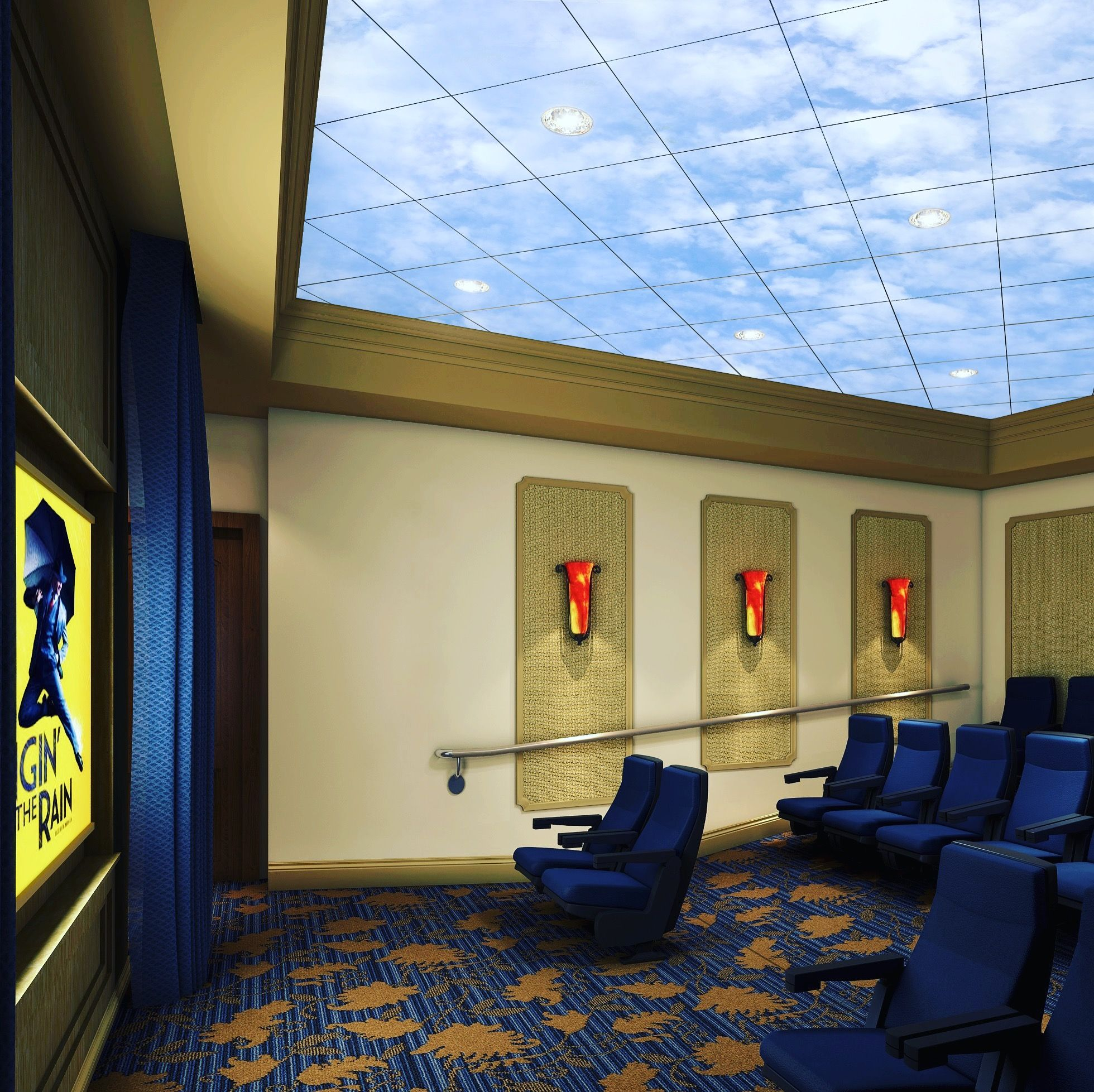 Movie theater ceiling tile artificial sky pinterest ceiling artificial sky worlds largest sky ceilings made from acoustic ceiling tiles led skylights and virtual sky ceiling panels for windowless environments dailygadgetfo Gallery